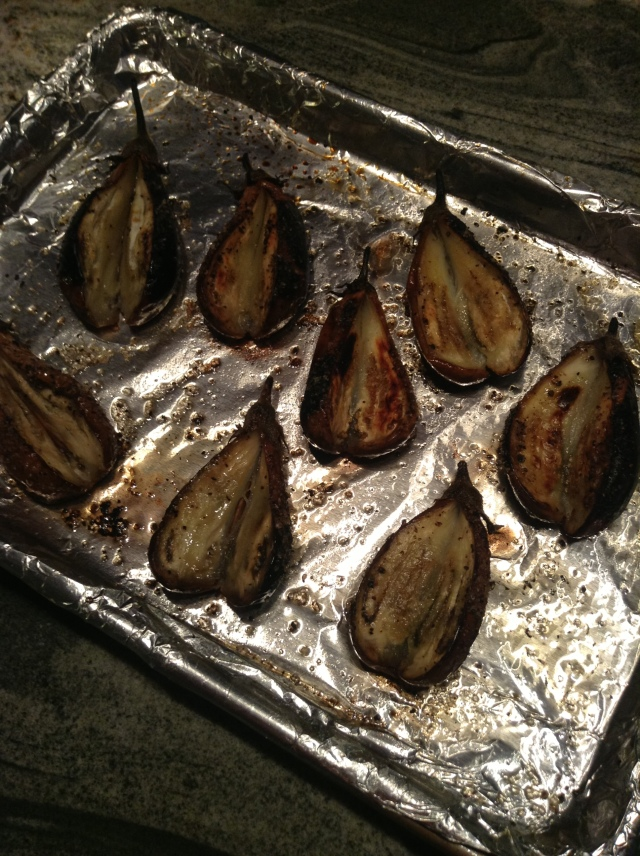 Roasted eggplant ready for stuffing