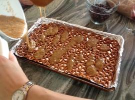 Caramel hitting the pretzels